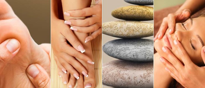 Reflexology, mani-pedi, hot stone massage, facial massage illustrations.